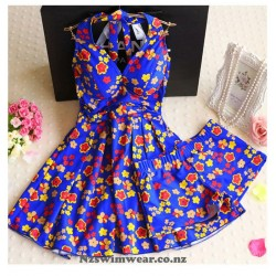 Halter Cover-Ups Flower Swim Dress Two-piece Swimwear Plus Size Swimwear Boxer Underwear
