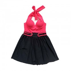 One piece Swimsuit Neck tie padded D-cup Breast Micro length Pink and Black