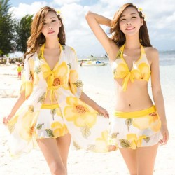 Three piece Floral Ruffle gown Tankini Halter small chest with outer coat Frills body cover