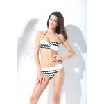 Cute Pink and White Abby moore collection Two Piece Neck tie Strapless Bikini Zigzag design Net overall Swimwear