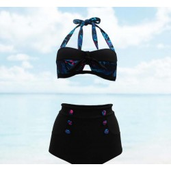 Two piece Stylish Retro Black Neck tie floral colorful Pastel Goth and Nue cloth Blue High waist Swimwear