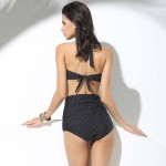 Betty Black Two piece Sexy Swimwear Halter Straps Neck Tie knot Body con Bottom