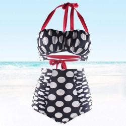 Two Piece Bikini Body con Bottom Red Straps Adjustable back and neck ties Padded Top Black with White bubbles