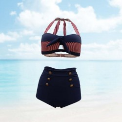 Navy blue Two Piece Halter Body con High waist Bottom Padded top with Red stripes neck tie Adjustable back strap