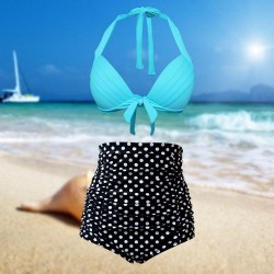 Retro Vintage Half cup High-waisted Two piece Black dots and Skyblue top High waist Bikini Swimsuit