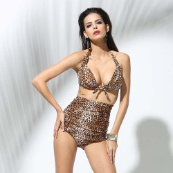 Sexy Retro Half cup Strapless High-waisted Bikini Two piece Leopard top High waist Bandage Swimsuit