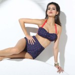 Sexy Retro Elastic cup Strapless High-waisted Bikini Two piece Vintage polka dot Bandage Red Neck tie and Dark Blue Swimsuit