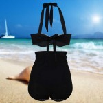 Attractive Two piece Retro Strapless Sweetheart Swim type Black and white Half Mix Pattern Half cup Front Bikini High waisted Bottom sexy Swimsuit