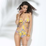 Attractive single piece Retro Strapless neck tie Swim type Bikini Yellow Half cup Floral design with single cloth connecting Top and Bottom side strips sexy Swimsuit