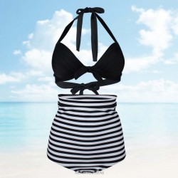 Attractive Two piece Retro Strapless Push out Swim type Halter Full cup White stripes on Black Bikini sexy Swimsuit