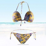 Retro Vintage padded Half cup Strapless Sexy Two piece Side knots Bottom Yellow Floral Design Bikini Swimsuit