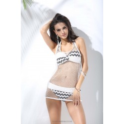 Two piece Sexy Retro Full cup Strapless White Bikini Netted Overall Fashionable Black Cross design Swimsuit