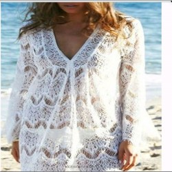 2018 New Women Lace V neck Beach Dress Long Sleeves Hot Summer White Mini Dresses