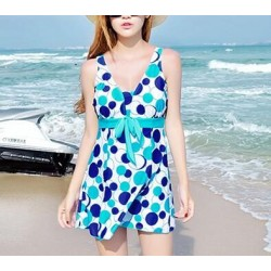 Vintage Elegant Women's One Piece Plus Size Circle Print Swim Dress