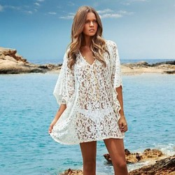 Women's Fashion Lace Hollow Crochet Swimsuit Nz Swimwer Bikini Dress Beach Cover Up