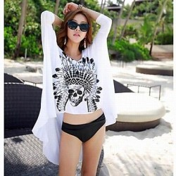 Women's Fashion Sexy White Cotton Black Skull Sun Prevention Beach Cover-up
