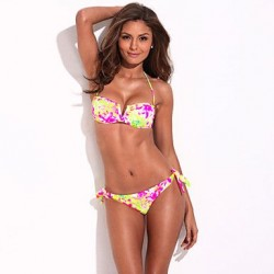 The Belle Of The Beach RELLECIGA Full Lined High Contrast Floral Blooming Pattern Bikini Set With Mild Push Up Molded Foam Padding