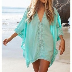 Womens Fashion Solid Cotton Hollow Crochet Swimwer Bikini Beach Cover Up Sun Prevention Mini Dress