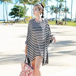 Women S Crew Neck Chiffon Striped Oversized Batwing Sleeve Fashion Bikini Cover Up