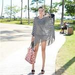 Women 'S Crew Neck Chiffon Striped Oversized Batwing Sleeve Fashion Bikini Cover Up
