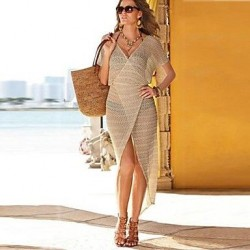 Women's Sexy Fashion Wrap Beach Cover Up Dress with Short Sleeve