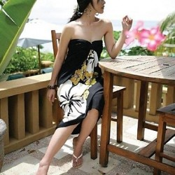 Women's Black Flowers Beach Cover-up