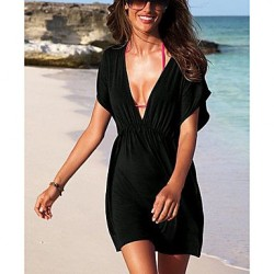 Black Classic Beach Cover Up Mini Dress
