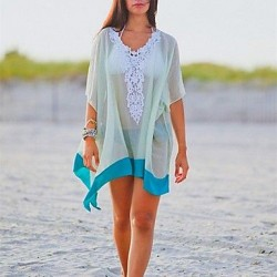 Womens Fashion Sexy White Chiffon Hollow Out Kintwear Sun Prevention Beach Cover Up