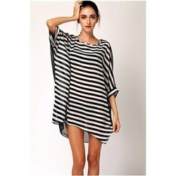 Womens Stylish Black&White Stripe Sun Prevention Cover Up