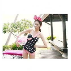 Women's Popular Lovely Pink Point Inclined Shoulder Nylon and Spandex Two-Pieces Swimsuit Nz
