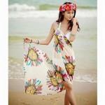 Fashionable Printed Chiffon Beach Shawl Swim Dress