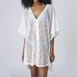 Women's Fashion Sexy Deep-v White Hollow-out Kintwear Sun Prevention Beach Cover-up