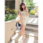 Women's Fashion Hollow Crochet Half-Sleeve Swimsuit Nz Swimwear Nz Bikini Dress Beach Cover Up