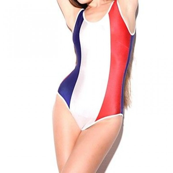 Elonbo Women's Red White and Blue Vertical Stripes Style Digital Painting Sexy Swimsuit Nz One-Piece Swimwear Nz