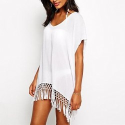 Womens Fashion Solid Chiffon Swimwer Bikini Beach Cover Up Sun Prevention Mini Dress