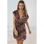 Women's Fashion Pink&Coffee Leopard Deep-v Bikini Swimwear Nz Swimsuit Nz Beach Cover-up Mini Dress