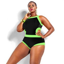 Women's Polyester Wireless Color Block Plus Size One-pieces Swimwear Nz