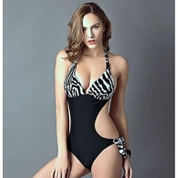 Women's Push-up/Wireless Color Block/Animal/Ruffle Bandeau One-pieces (Polyester)