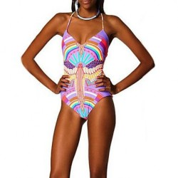 Women's Nylon/Polyester Wireless Floral Halter One-pieces Swimwear Nz