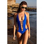 2019 New Sexy Women'S Monokini One-Piece Bandage Bikini Blue White Swimwear Nz Bathing Suits