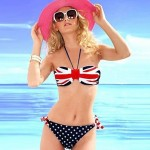 Women's Fashion Nylon and Spandex England Flag Sexy Beach Swimwear Nz Bikini Set
