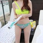 Elegant Bikini Set Yellow Bandeau Shoulder Halter Swimsuit Nz Bathing Suit
