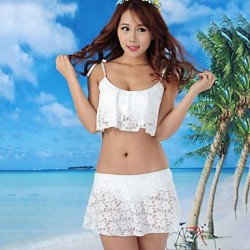 Women's Pure Color Lace Sexy Bikini Swimwear Nz