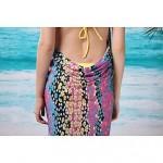 Women's Fashion Sexy Yellow Chain Print Deep-v Swimwear Nz Swimsuit Nz Beachdress Bikini Cover-up