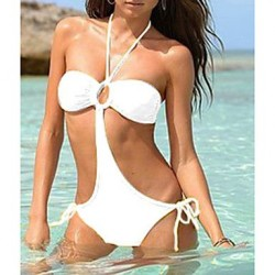 Women's Halter Pure Color One-piece Swimwear Nz