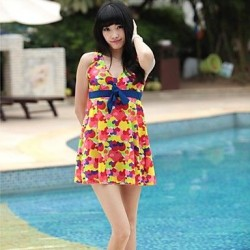 Woman's Vintage Elegant Plus Size Flower Print One Piece Swimsuit Nz
