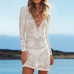 Women's Lace/Polyester Fashion Sexy Deep V Hook Flower Long Sleeve Cover-Ups