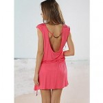 Women's Stylish Sexy Bare Back Metal Pearl Button Solid Deep V Beach Dress