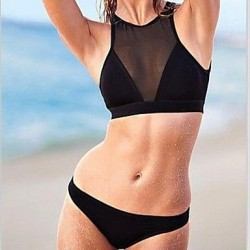 Women's Sexy Black Mesh Perspective Hot Bikini Swimwear Nz Set