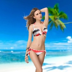 Lady Colorful Push-up Underwire Red New Swimwear Nz Bikini Set Biquini
